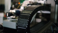 Production department at the company. Items of production equipment close-up. Stock Footage