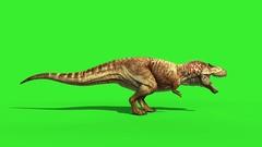 T Rex Tyrannosaur Feathered Roar Side Loop Jurassic World Dinosaurs Green Screen Stock Footage