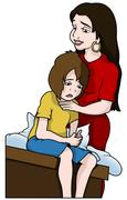 Mom and Unhappy Son Stock Illustration
