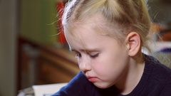 Baby girl was offended and didn't want to talk with a parent, in a bad mood Stock Footage