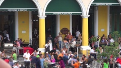 Crowd of tourists in the open-air beer restaurant at Plaza Vieja. Old Cuba. Stock Footage