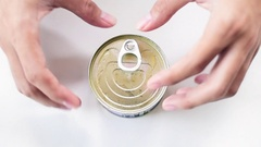 Opening fruit can Stock Footage