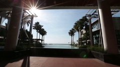 Pattaya Thailand November 26 View from the pool to the sea, palm trees blue Stock Footage