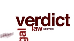 Verdict animated word cloud, text design animation. Stock Footage