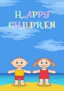Children on beach Stock Illustration