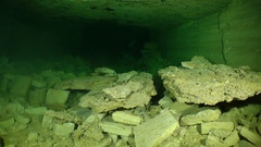 Flooded catacombs: Movement of the camera along the gallery. Stock Footage