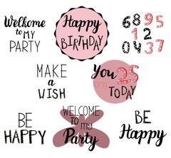 Happy Birthday greeting, invitation text Stock Illustration