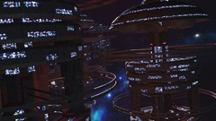 Fly through a fleet of futuristic space stations 4K Stock Footage