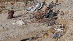 The coastal strip is contaminated debris Stock Footage
