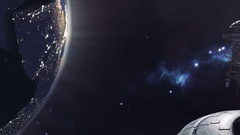 Animated fleet of futuristic space stations 4K Stock Footage