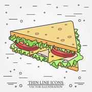 Vector thin line icon sandwich. For web design and application interface, a.. Stock Illustration