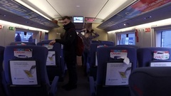 Passengers boarding the train sapsan at the Moscow station Stock Footage