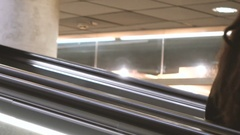 People on escalators in the city Stock Footage