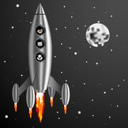 Vector Illustration rocket and dog cat mouse fly into space Stock Illustration