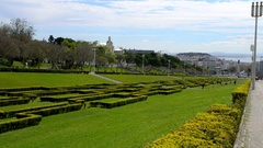 Eduardo VII Park in Lisbon, Portugal Stock Footage