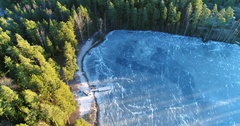 Cinema 4k aerial flight over a wooden pier, at a icy pond, in Kaskimaa, Raa.. Stock Footage