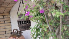 Medieval lamp and clay pot Stock Footage