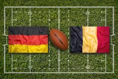 Germany vs. Belgium flags on rugby field Stock Illustration