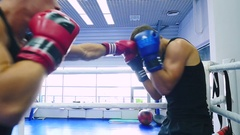 Young athlete hit his opponent in the head. Stock Footage