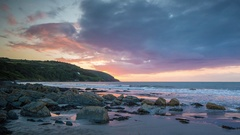 Wales sunset tide beach coast landscape nature timelpase Stock Footage