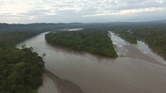 Rising over the upper Rio Napo at dawn in the Ecuadorian Amazon Stock Footage