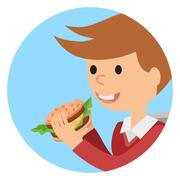Boy eating sandwich. Vector illustration on theme fast food Piirros