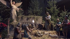 VIENNA, AUSTRIA Nativity scene in Christmas decorated Saint Stock Footage