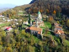 Gelati orthodox monastery, Georgia, aerial Stock Footage