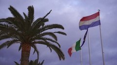 Italian and french flags on the wind - Color Graded Version Stock Footage