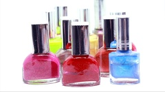 Bottles of Nail Polish Stock Footage