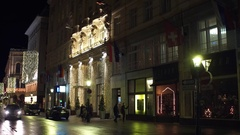 VIENNA, AUSTRIA Steadicam shot of luxury hotel Herrenhof at night Stock Footage