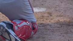 The catcher at a baseball game catches and throws the ball. Stock Footage