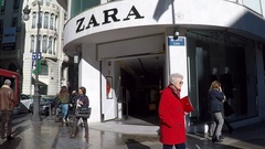 Outside a Zara retail store in Valencia, Spain Stock Footage