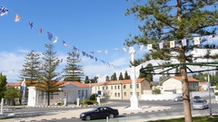 Ochi day in Cyprus Greece with waving flags slow motion Stock Footage