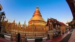 Hyperlapse Wat Phrathat Hariphunchai Landmark Temple of Lumphun, Thailand (D2N) Stock Footage