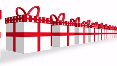 White gift boxes with red ribbons line over white background seamless loop Stock Footage