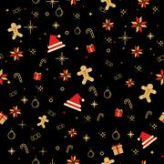 Seamless background image of Christmas decorating item pattern in black. Stock Illustration