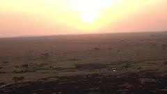 AERIAL: Serengeti plains and savanna landscape on dramatic golden light morning Stock Footage