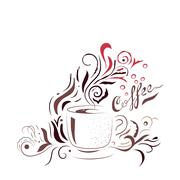 Hand Drawn Coffee Cup with Floral Design. Sketch style template for menu, wall Stock Illustration