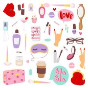 Girls fashion icons vector illustration Stock Illustration
