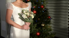 Young bride at a wedding at the hotel Stock Footage