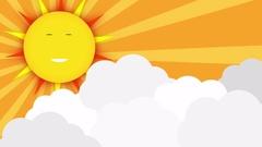 Cartoon sun and clouds in sky seamless loop, cute smiling sun vs cloud attack. Stock Footage