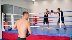 The boxer trains muscles. Stock Footage