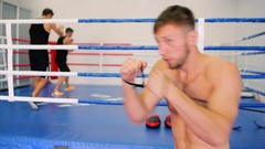 Boxers work out in the air strikes. Stock Footage