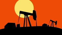 Pump rig in oil field in sunset Stock Footage