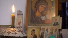 Easter Candles Are Lit Icons of Saints Stock Footage