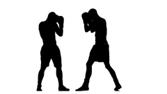 Training between two sportsmen boxers men. Silhouette Stock Footage
