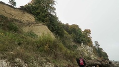 Chalk rock cliff Rugen Island. landscape in autumn time. Stock Footage