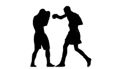 Muscular boxers are trained to hit an opponent. Silhouette Stock Footage