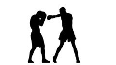 Serie blows and blocks at the training two boxers. Silhouette Stock Footage